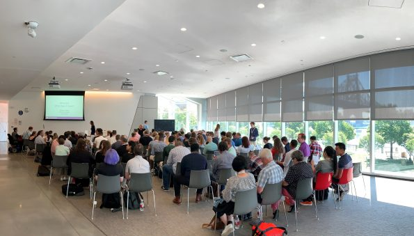 The room of about 100 people who attended the XR Access Symposium in July 2019
