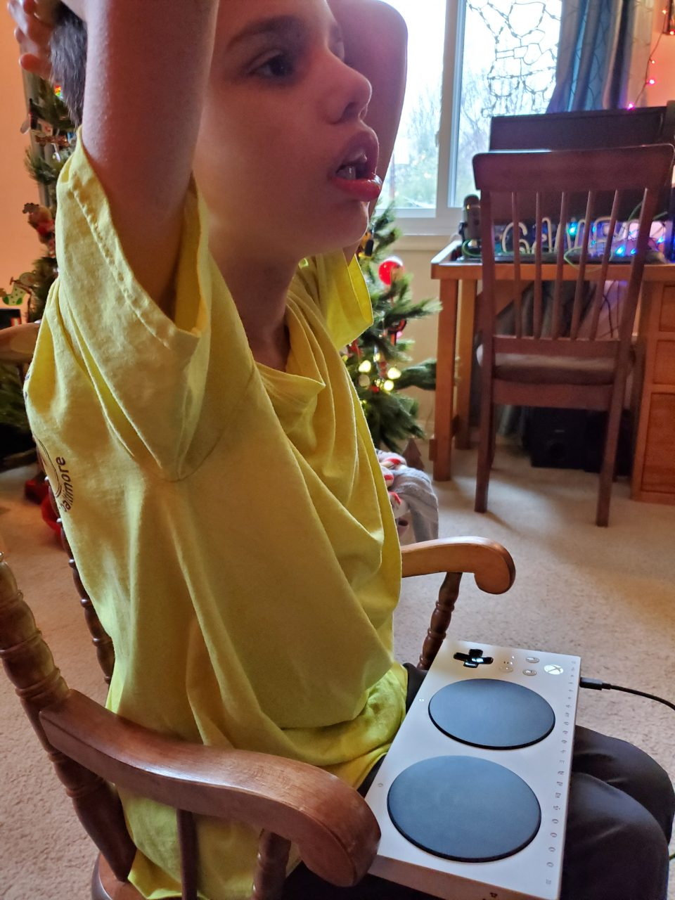 My son playing on the Xbox Adaptive Controller